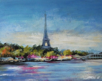 Eiffel tower, Paris painting, original painting, France Painting, cityscape art