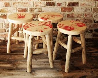 Round wood wooden log stool pine blood hands unique furniture