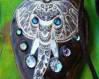 Gold silver elephant inlay on wooden pendant