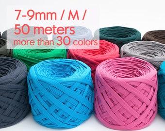 T-shirt yarn 50m / M yarn / Thick spaghetti yarn Fabric yarn 100% cotton yarn Bulky cotton yarn Solid color t-shirt yarn / 50 m (54.7 yards)