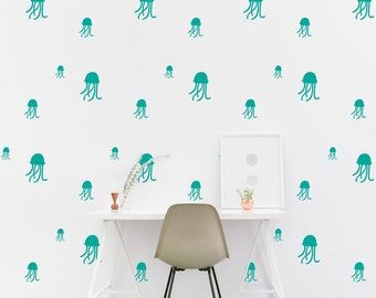 Jellyfish wall Decal Nautical Jellies Kids room Marine Wall Sticker Nursery Bedroom, Pattern Wallpaper Vinyl Wall Decals Home Decor Stickers
