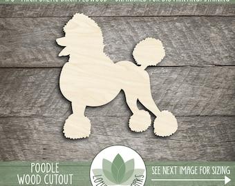 Wood Poodle Cut Out, Unfinished Wood Poodle Laser Cut Shape, DIY Craft Supply, Many Size Options