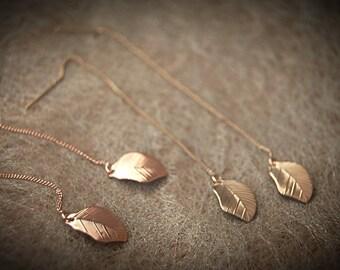 Earrings leaf gold or rosé