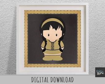 KIDS WALL ART Print: Girl digital paper - nursery decor - kids art  - nursery wall art - digital paper - kids room decor - nursery art