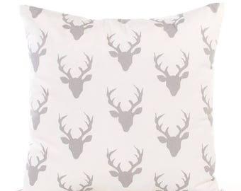 SALE ENDS SOON Gray Deer Print Pillowcase, Deer Throw Pillow, Antlers, Soft Cotton Pillows, Dorm Room Pillows, Silver Buck Pillowcase, Cushi