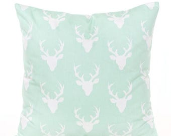 SALE ENDS SOON Mint Green Pillow Cover, Baby Pillow, Rustic Nursery Pillows, Deer Head Print Pillow, Country Decor, Boy's Room Decor