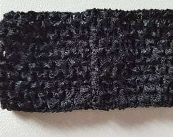 Soft headband crocheted black for tutus, dresses, hair accessory
