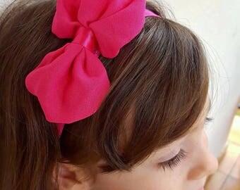 Fuchsia pink elastic bow headband one size