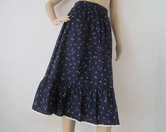 Vintage 70s skirt Betty Barclay rock Mille fleurs lace cotton 34/XS