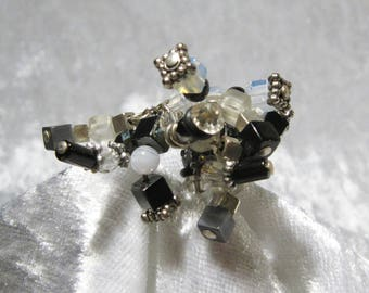 Adjustable ring black & white cubic - stones, gems