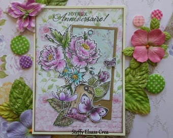 Great birthday card tag and Butterfly blue pink green flowers