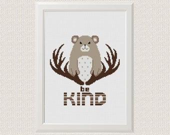 Be Kind Bear Cross Stitch Pattern Baby Woodland Animals Nursery Wall Art  Woodland Room Decor Woodland