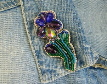 Dark blue flower,  flower brooch, purple flower brooch, bead flower brooch, bead brooch, beaded brooch flower