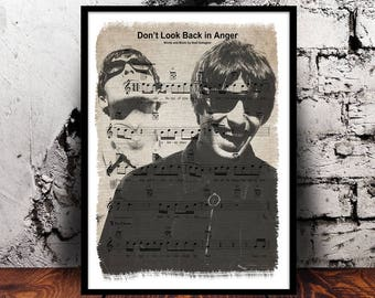 Oasis Noel Gallagher and Liam Gallagher A4 music sheet print Live Forever, Don't Look Back in Anger, The Masterplan, Half the World Away
