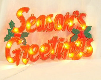 Large Vintage Lighted Season's Greetings Red Plastic Sign, Indoor, Outdoor, Decorative Holiday Sign, Window Porch Display, Electric Greeting