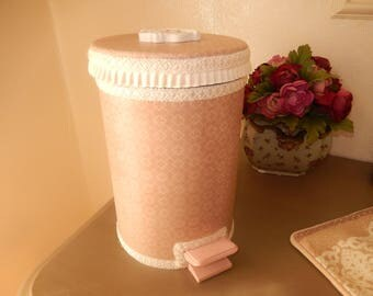 bin charm for bathroom sheathed fabric and trims with painted decoration