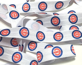 5/8 Chicago Cubs Elastic, Cubs FOE, Cubs Fold Over Elastic