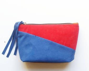 Makeup  bag rust / red / blue