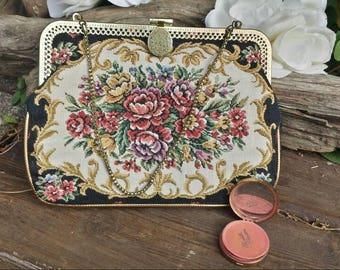 Vintage floral tapestry clutch with Elizabeth Arden New York Rouge compact/vintage clutch/vintage rouge compact/rouge compact/gifts for her