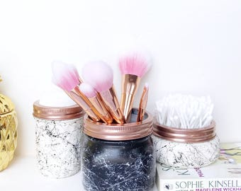 White Marble Mason jars set, marble decor, marble effect makeup storage, rose gold makeup brush holder, monochrome nursery, ball mason jar