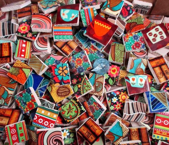 Ceramic mosaic tiles 2 pounds mixed designs mixed sizes for Craft mosaic tiles bulk