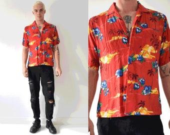 Vintage Short Sleeve Hawaiian Button Up Shirt/ 90s Hibiscus Sunset Collared Shirt
