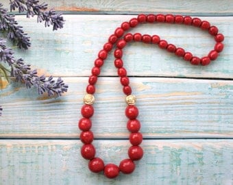 Simple necklace, Long Red Necklace, boho chic beaded long tribal necklace, grandma necklace, gift ideas for mom, women's necklace