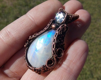 rainbow moonstone pendant-copper wrap-wire wrap-wire weave-handmade pendant-wire wrapped jewelry-boho jewelry-artisan-Melissa Wood Jewelry