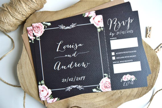 Vintage Chalkboard Wedding Invitation and Rsvp Postcard Sample