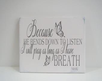 Religious Sign/Hand Painted Scripture Sign/Psalm Sign