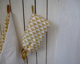 geometric mustard yellow cotton maxi dispenser