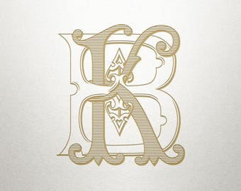 Ornate Monogram Design - BK KB - Ornate Monogram - Antique