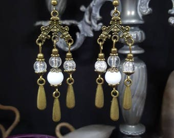 Retro Boho earrings - chandelier - Victorian - classic - bronze - glass - shabby - Princess - Regency - Valentine's day