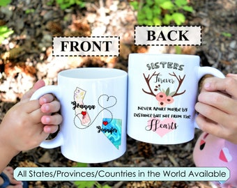 Gift for sister,Long distance mug,long distance mug for sister,long distance gift,Sister Mugs,Moving away from sister,sisters,custom mug,mug