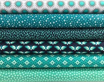 Bundle of 6 fabrics from the Paintbox Collection by Elizabeth Hartman for Robert Kaufman, Rhoda Ruth, Fancy Forest Fabric, Blue, Aqua