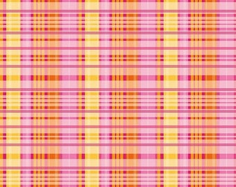 Sale Primavera Plaid in Tangerine Cotton Fabric by Patty Young for Riley Blake