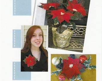 Poinsettia Accents Pattern from Poorhouse Quilt Designs, Poinsettia Bowl, Pin, and Potted Pattern, Christmas Pattern, Xmas Sewing Pattern