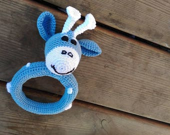 Sonaglietto white and blue crochet giraffe
