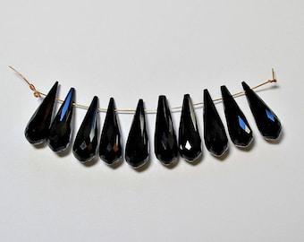 Natural Black Garnet Faceted Teardrop Briolette Loose Beads 20x6mm, January Birthstone, Natural Garnet Beads, Semi precious Gemstone Beads