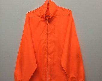 Neon Windbreaker/Plain Polyester Zip Up Windbreaker/Orange/Size L