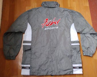 FUBU jacket, nylon vintage Fubu windbreaker, 90s old school hip-hop clothing, 1990s hip-hop, gangsta rap, gray color jersey, size L Large