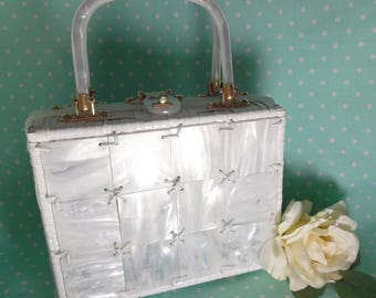 Retro Lucite and Wicker Handbag
