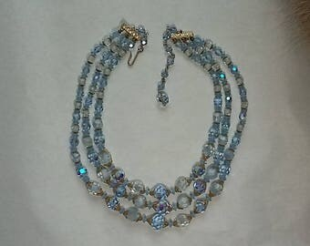 Vintage Laguna 3 Strand Beaded Necklace Blue & Clear Beads Gold Fittings