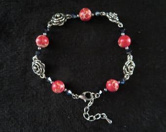 """roses"" bracelet with swarovski crystal and imperial Jasper beads"