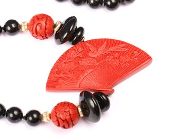 Black Onyx and Red Cinnabar Oriental necklace, Vintage 1940s