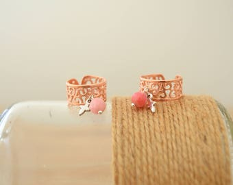 Bohemian Rose Gold Pinky Chevalier Cross Ring, Bridesmaid Rose Gold Ring, Chevalier Cross Charm Midi Pinky Knuckle Ring, Adjustable Ring