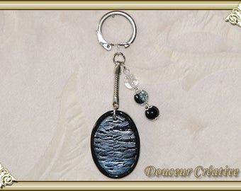 Keychain blue mother of Pearl black beads 108007