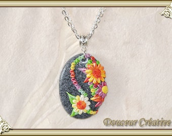 Challenge spring multicolor stone 103035 gray Flower necklace