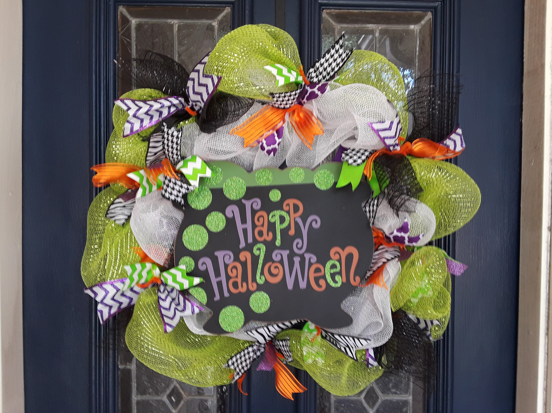 mesh halloween wreath happy halloween wreath halloween door wreath