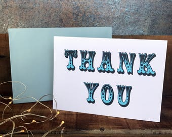 circus theme thank you card in blue